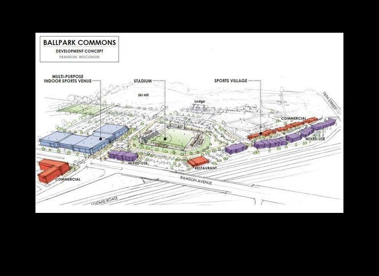 Rendering of the Ballpark Commons development.