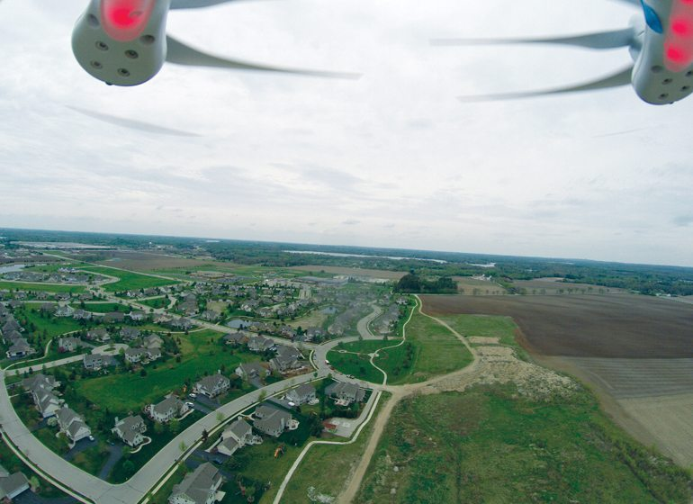 Drones offer a unique perspective and can be used in land surveying.