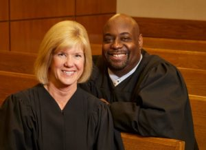 Judge JoAnn Eiring and Judge Derek Mosley. Eiring will be among those recognized at the City Birthday Party.