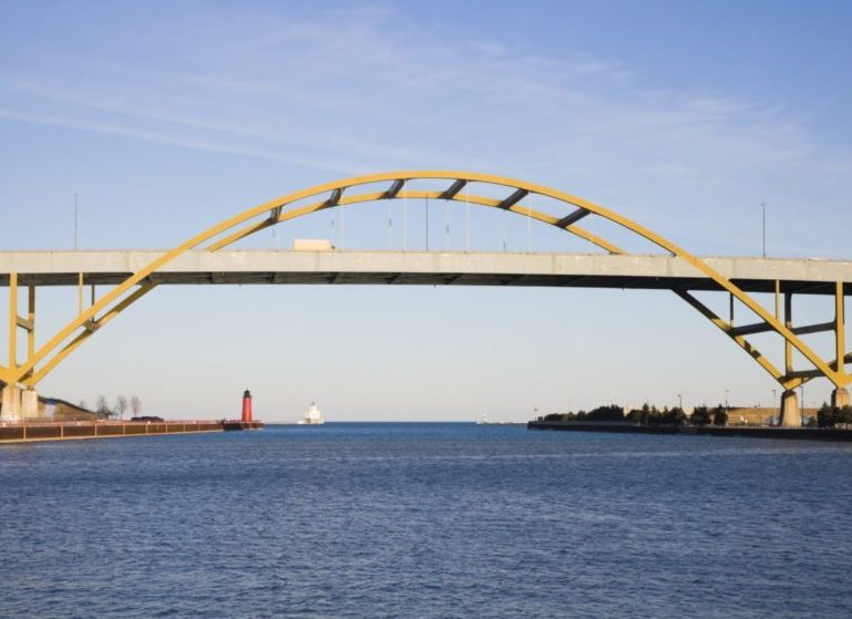 The Daniel Hoan Memorial Bridge in Milwaukee.