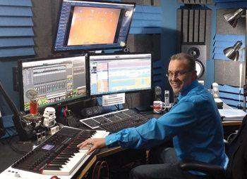 Lewis in his Waukesha home studio.