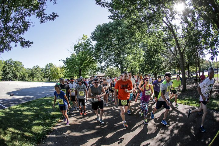 The starting line at a recent Run With Wolfes 5K/8K run and walk held annually at Menomonee Park in Menomonee Falls.