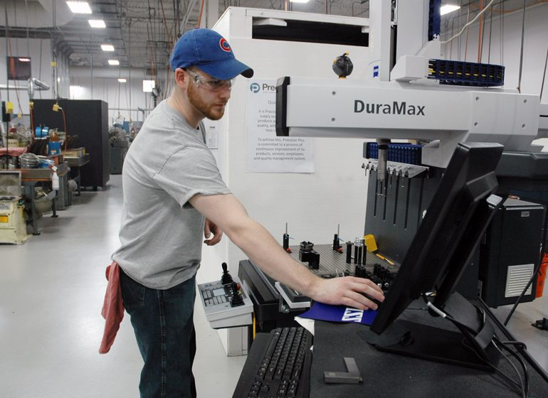 Brad Pearson said the opportunity to work with technology and not having to do the same repetitive task made manufacturing an attractive career for him. He's been with Precision Plus through a youth apprenticeship, internship and part-time work while at Blackhawk Technical College, and now works there full-time.