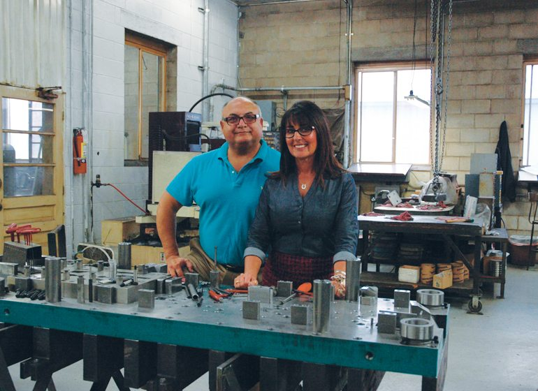 Bob and Pam Hutchinson on the shop floor at Norquist Tool & Die's 11,000-square-foot facility