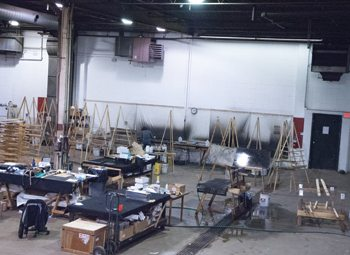 Scátháin's mirror production setup allows for multiple pieces to be in the works at once.