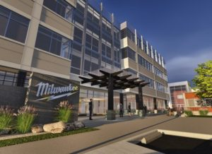 The northern entrance of Milwaukee Tool's headquarters expansion is shown in this rendering.