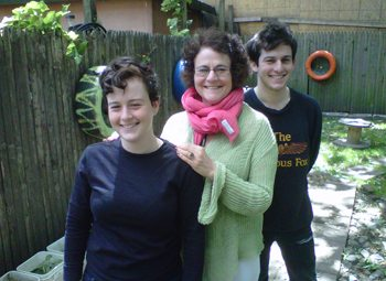 Susie Stein poses with her son Daniel, a student at the University of Wisconsin Law School and her daughter Rachel, an artist, welder and set designer who lives in Brooklyn, New York.