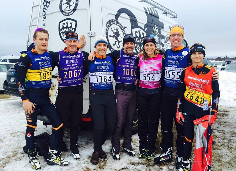 Kriete (third from right) poses with fellow competitors in the American Birkebeiner cross-country ski race.