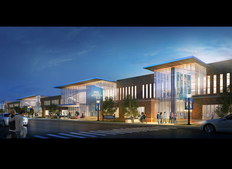 The exterior of the planned Athletic Performance Research Center.