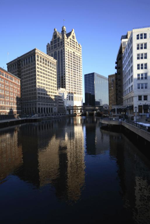 Milwaukee, river, skyline
