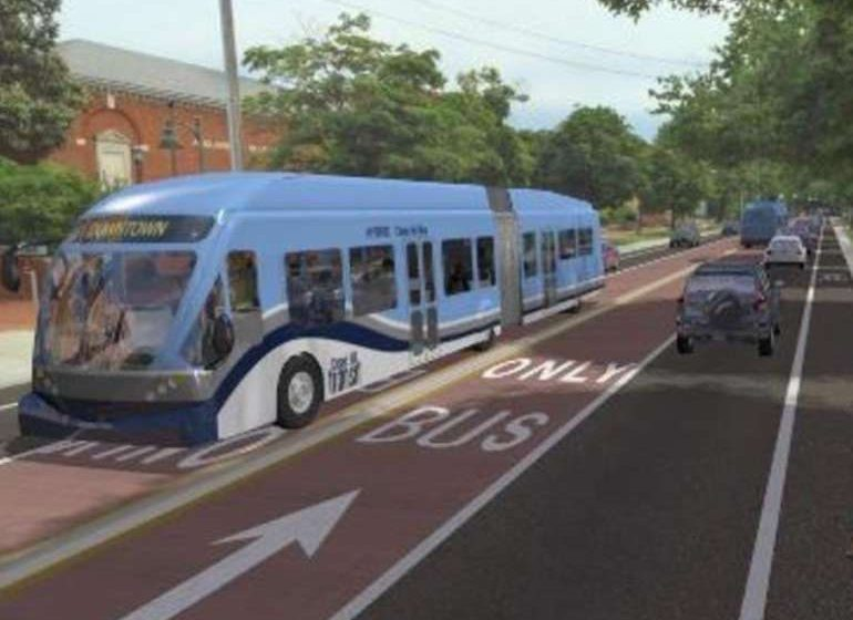 A rendering of the Milwaukee County East-West Bus Rapid Transit line.