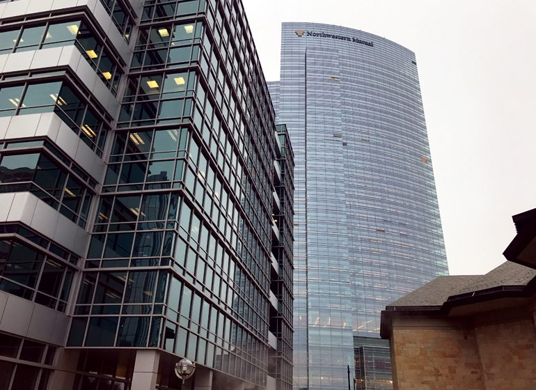 The Northwestern Mutual Tower and Commons office building in downtown Milwaukee is scheduled for completion in the fall.