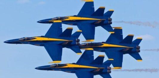 The U.S. Navy Blue Angels stunt team.
