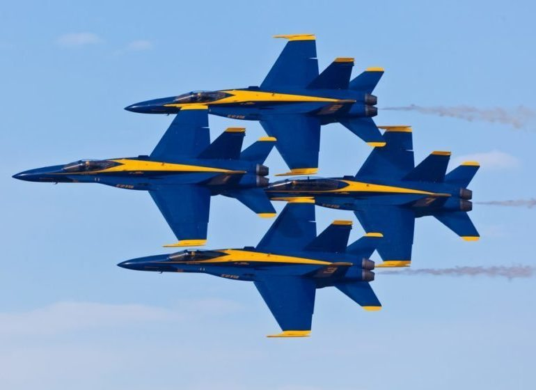 The U.S. Navy Blue Angels stunt team.
