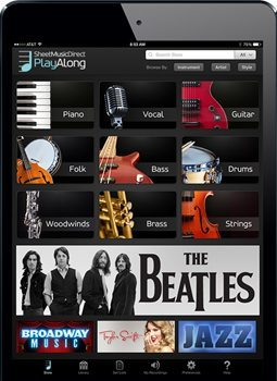 Sheet Music Direct's PlayAlong app features music for 17 different instruments in a variety of genres.