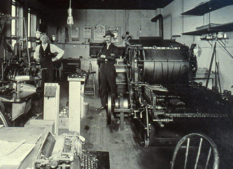 Otto Zander and his press, 1926.