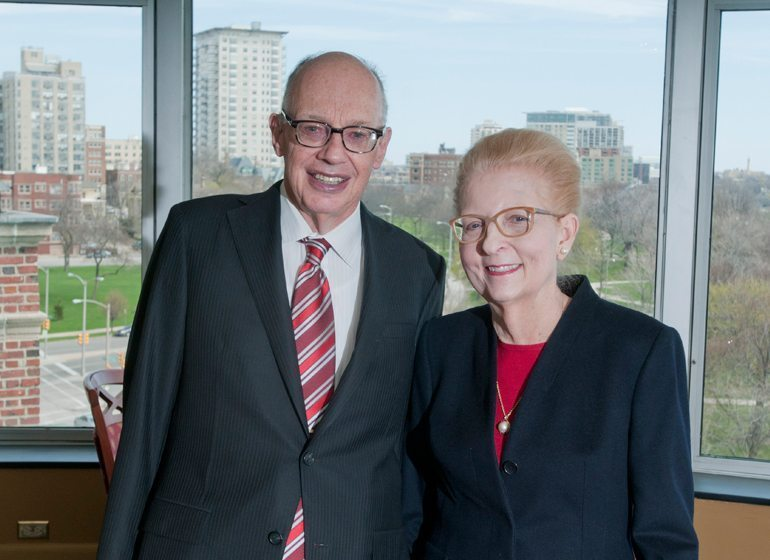 George and Julie Mosher in their home on Milwaukee's lakefront.