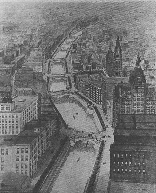 A 1904 sketch of the downtown Riverwalk by architect Alfred C. Clas.
