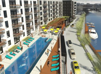 A rendering of the fourth phase of Mandel Group's The North End development along the Milwaukee Riverwalk.