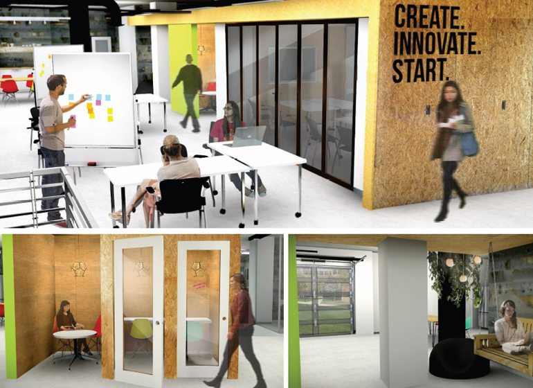 Renderings of The CoLab under construction at Marquette's Kohler Center for Entrepreneurship, which is expected to open March 27.