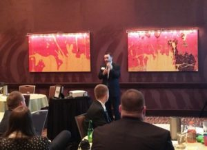 Event chairperson Rick Verthein speaks at the Milwaukee's Finest event on March 10 at InterContinental Milwaukee.