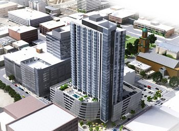 A rendering of the residential tower Northwestern Mutual plans to build in downtown Milwaukee.