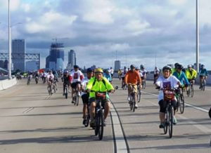 Cyclists ride south across the Hoan Bridge during the 2016 UPAF Ride for the Arts on June 5, 2016.