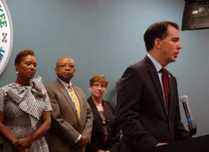 Gov. Scott Walker speaks at a press conference announcing a $4.5 million plan to combat unemployment in Milwaukee.