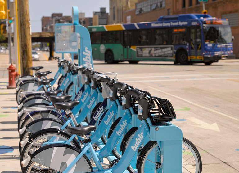 One of just many Bublr Bikes stations.