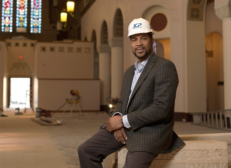 James Phelps, president of JCP Construction, at a renovation project for Pilgrim Rest Missionary Baptist Church in Milwaukee.