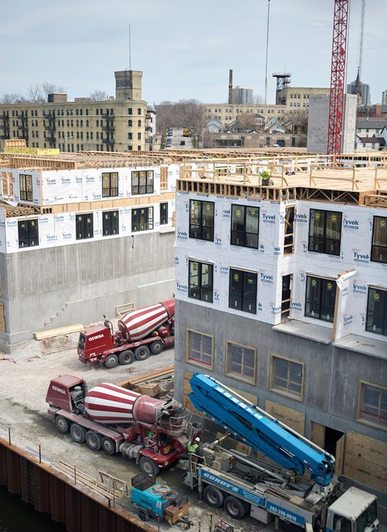 Construction continues for the River House Apartments development in Milwaukee.