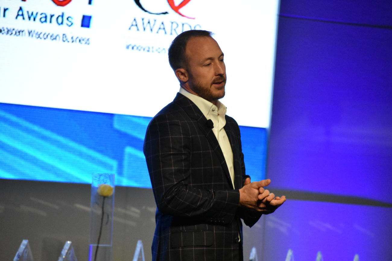 Brad Hollister, co-founder and CEO of SwanLeap, spoke during the Bravo! Entrepreneur and I.Q. Awards luncheon, which was held during the 2019 BizExpo event.