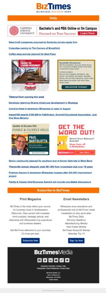BizTimes Email Newsletter