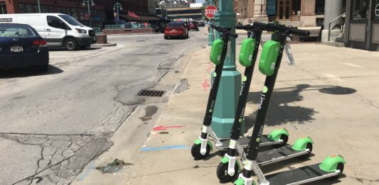 Lime scooters in the Historic Third Ward.