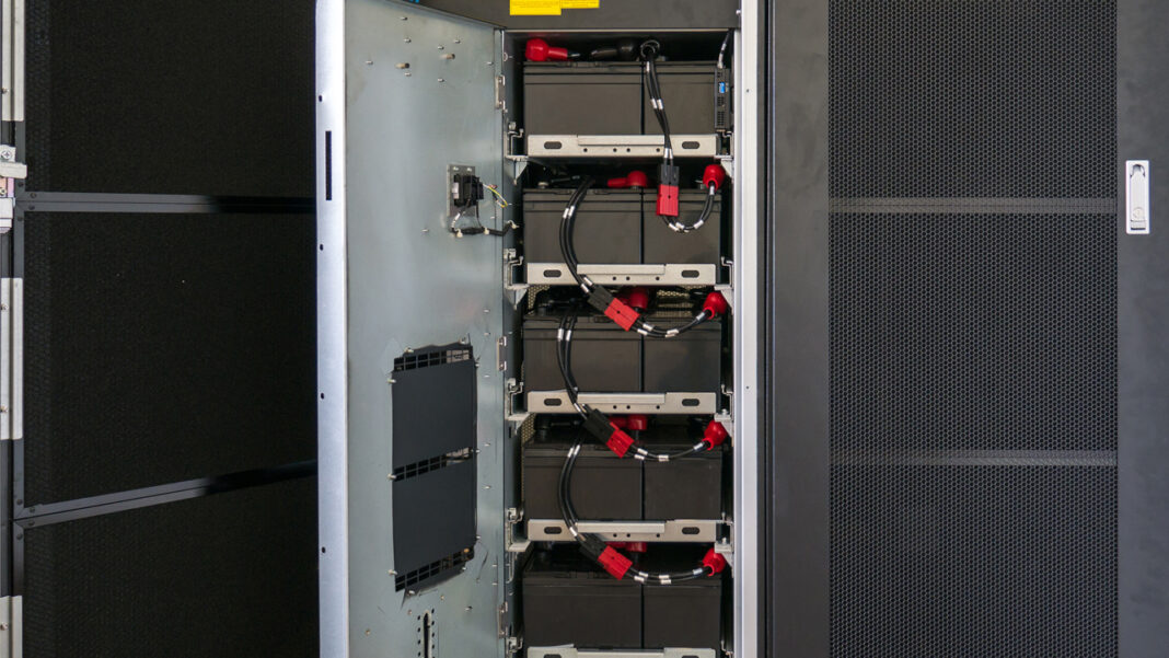 Batteries in an uninterruptible power supply.