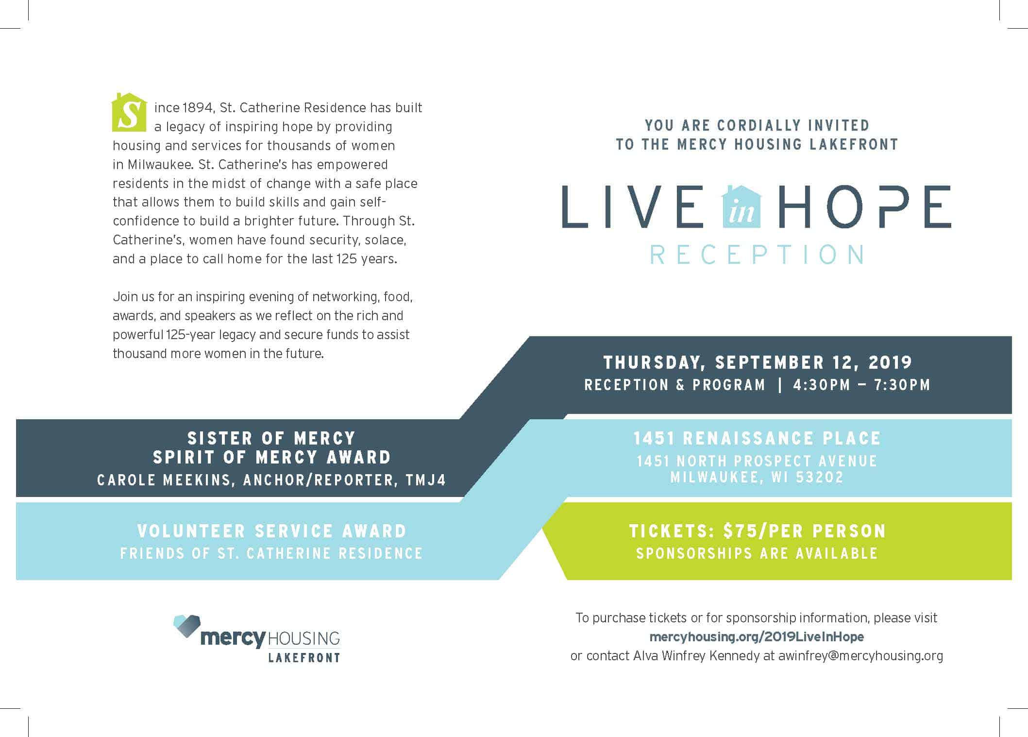 Mercy Housing Lakefront Live In Hope Reception