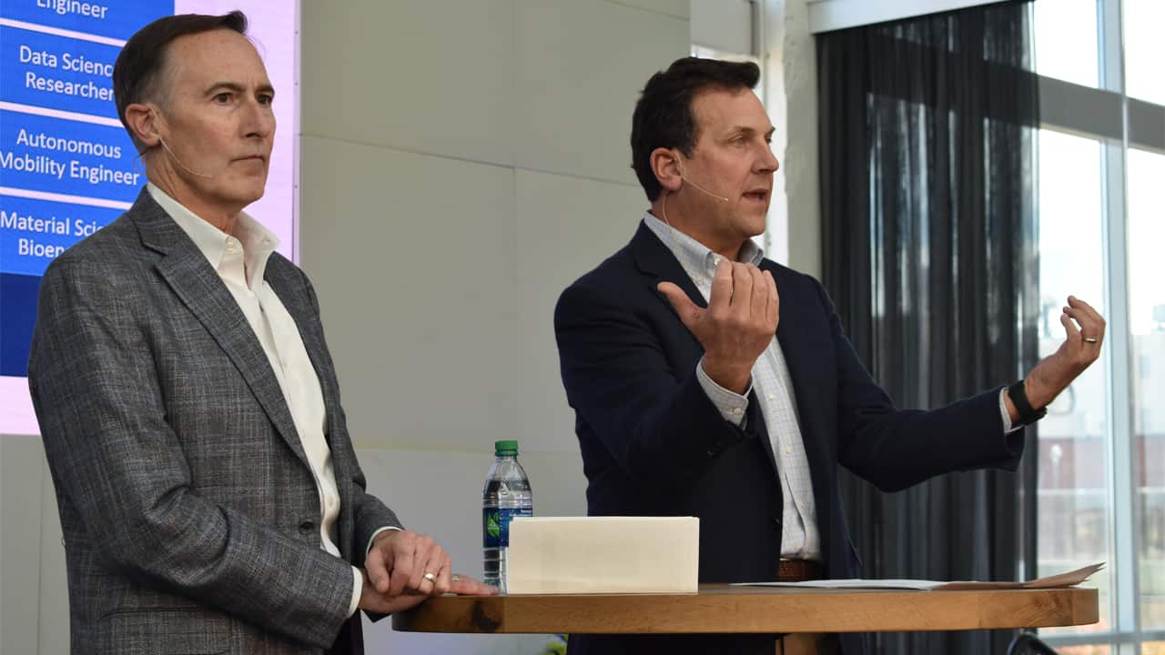 Nick Turkal, former co-CEO of Advocate Aurora, and John Schlifske, CEO of Northwestern Mutual, presented together at the 2018 Tech Hub Summit.