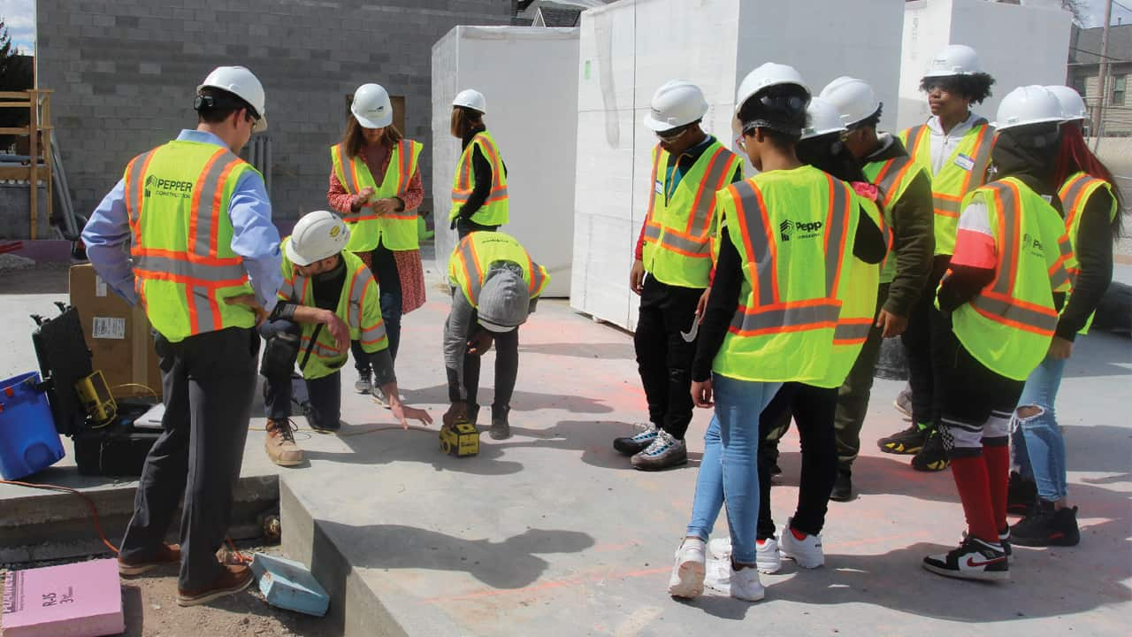 Cass Street School students spent time on the construction site for the new $50 million St. Rita Square development