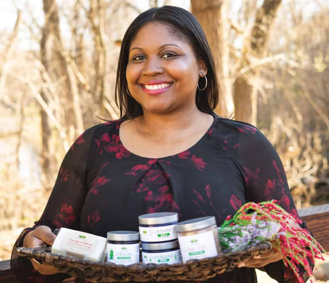 Trenise Watson with some of the skincare products she developed.