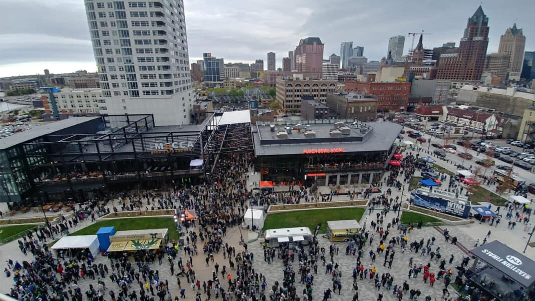 Crowd outside of Fiserv Forum during the Eastern Conference Finals.