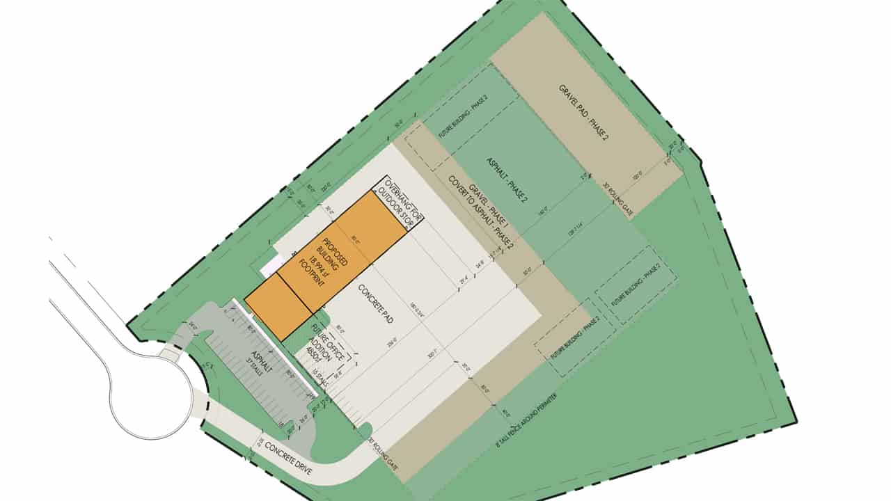 A site plan for Malcolm Drilling's new Mukwonago facility.