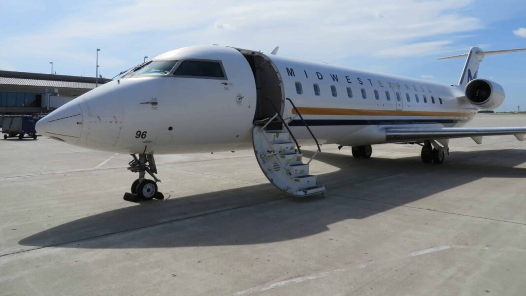 The first plane for the revitalized Midwest Express Airlines