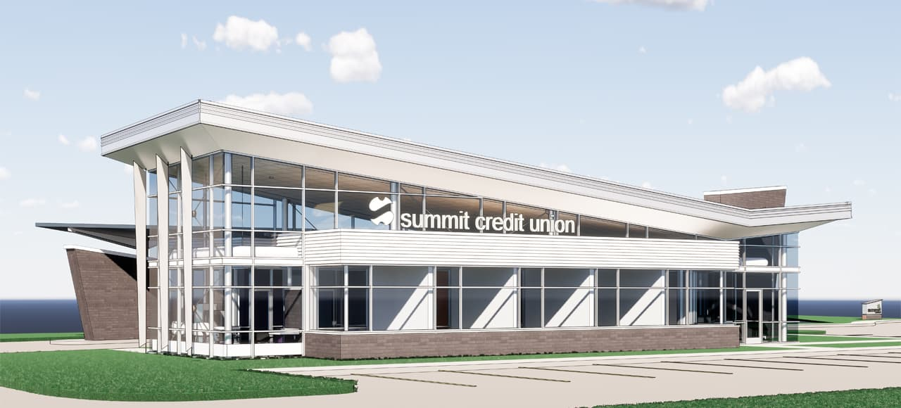 A rendering of the planned Summit Credit Union branch in Waukesha.