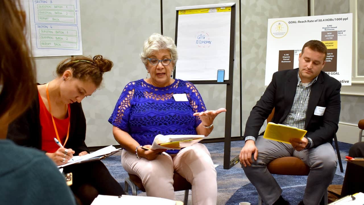 Maria Monreal-Cameron, former president and chief executive officer of the Hispanic Chamber of Commerce of Wisconsin, (center) leads a discussion regarding increasing civic engagement among Hispanic residents in the region, as part of the Hispanic Collaborative's ongoing work.
