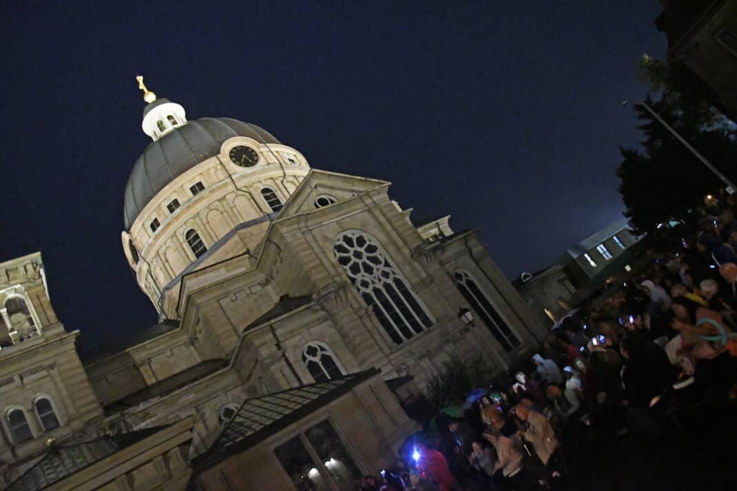 The illuminated St. Josaphat Basilica dome. Lila Aryan Photography