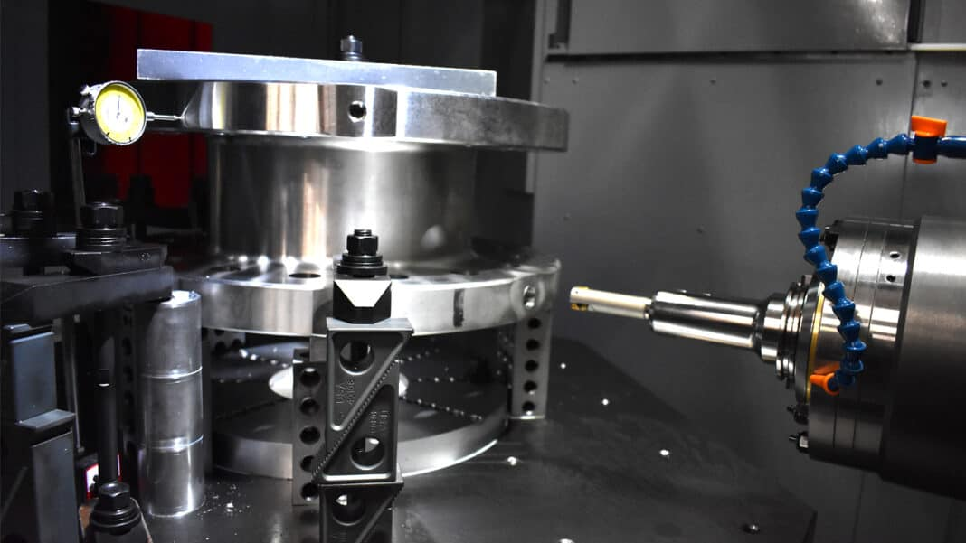 A stainless steel part machined by Allis Tool and used in combustion chambers in the aerospace industry.