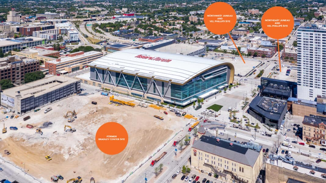 Key development sites near Fiserv Forum.