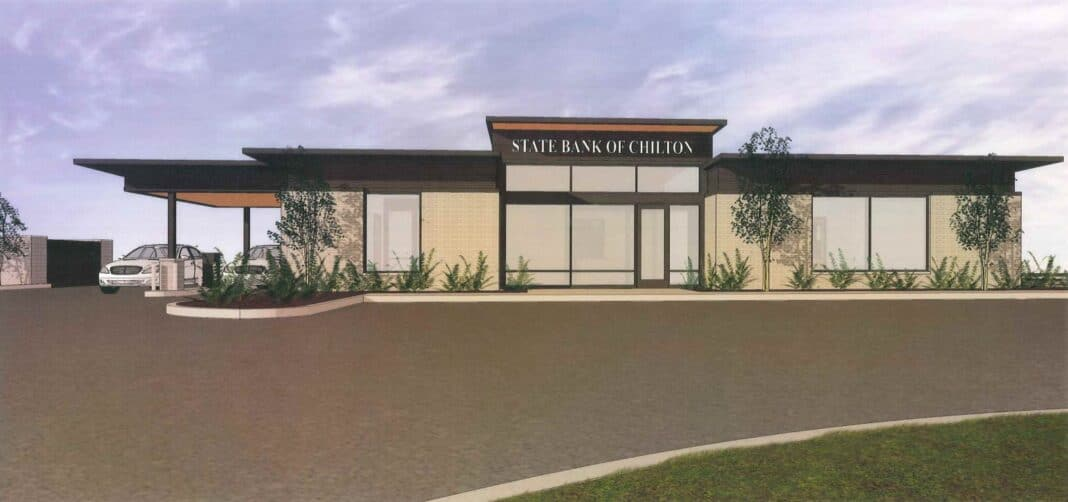 A rendering of the State Bank of Chilton Brookfield branch.