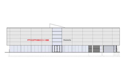 Porsche Waukesha dealership. (Credit: Madisen Maher Architects)