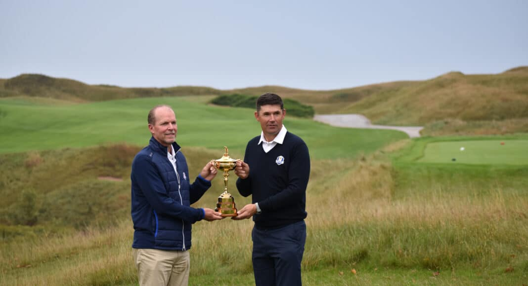 Steve Stricker and Padraig Harrington with the Ryder Cup trophy at Whistling Straits.